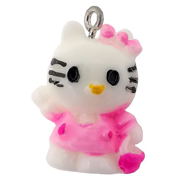 Acrylic Standing Waving Kitty Pink 16x21mm